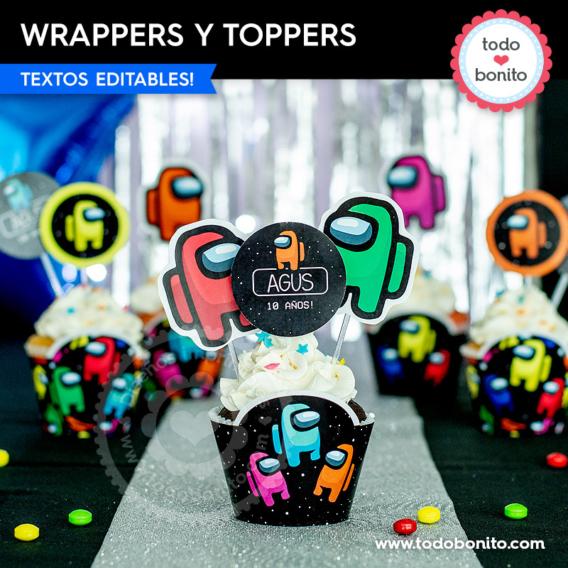 Decoraciones para cupcakes de Among Us
