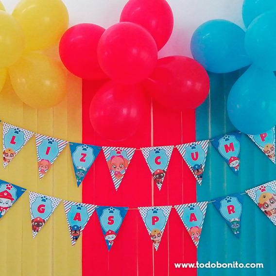 Banderines para imprimir cumpleaños Paw Patrol