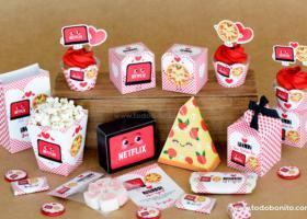 Kits imprimibles de Netflix y Pizza para enamorar