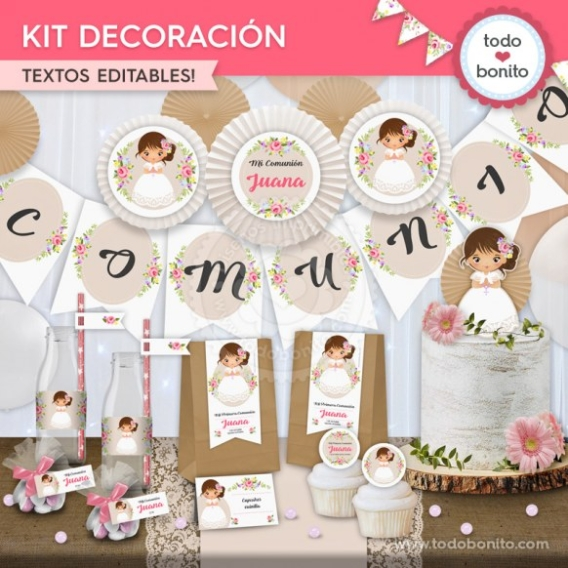 Primera Comunión modelo Juana: kit imprimible decoración de fiesta