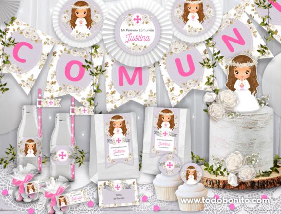 Kits imprimibles de Comunión de niña con flores blancas