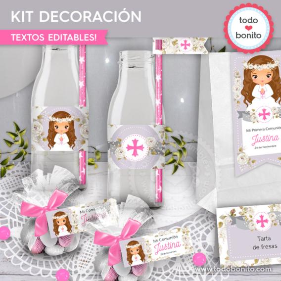 """Kit imprimible decoración de Comunión de niña modelo """"Justina"""""""