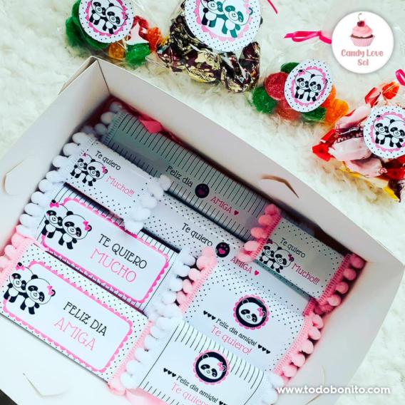 Golosinas decoradas para el día del amigo - Kit imprimible amigas pandita ♥