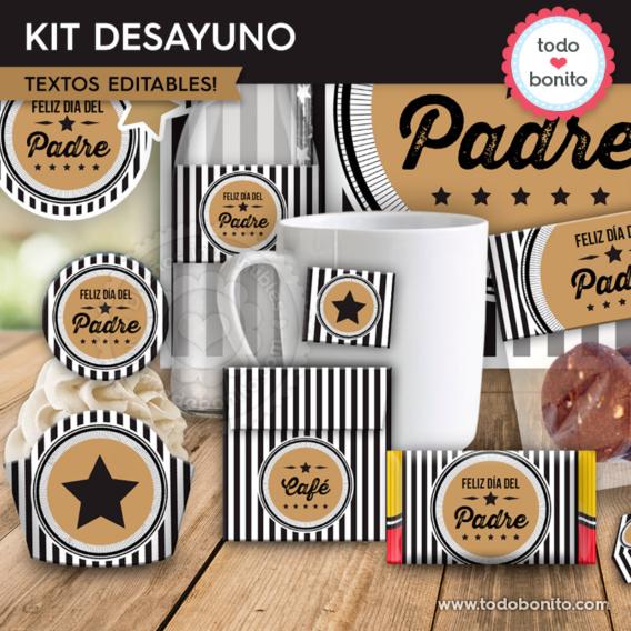 "Kit imprimible desayuno día del padre modelo ""Labels"""