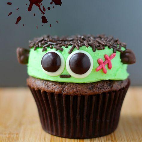 Cupcakes decorados para Halloween Frankenstein