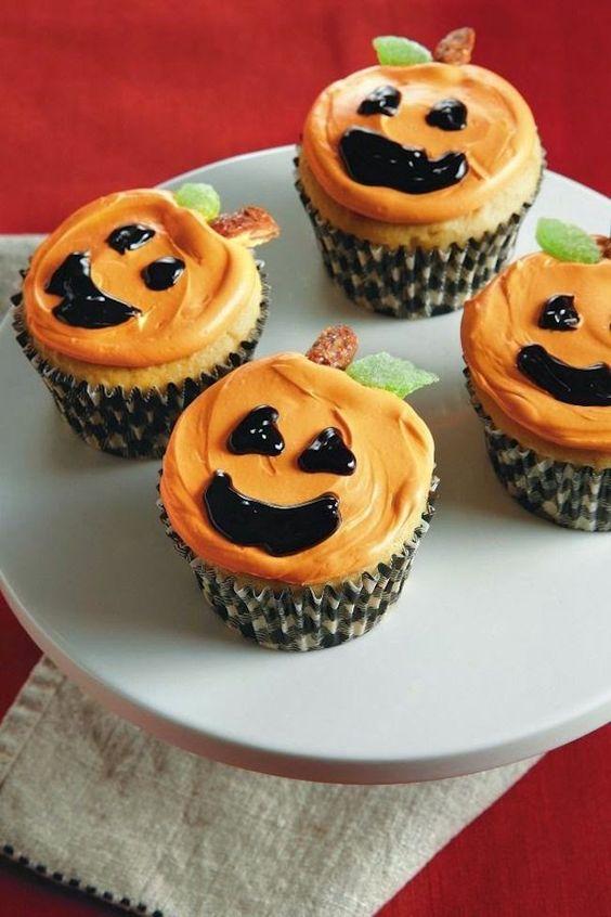 Cupcakes decorados para Halloween calabazas