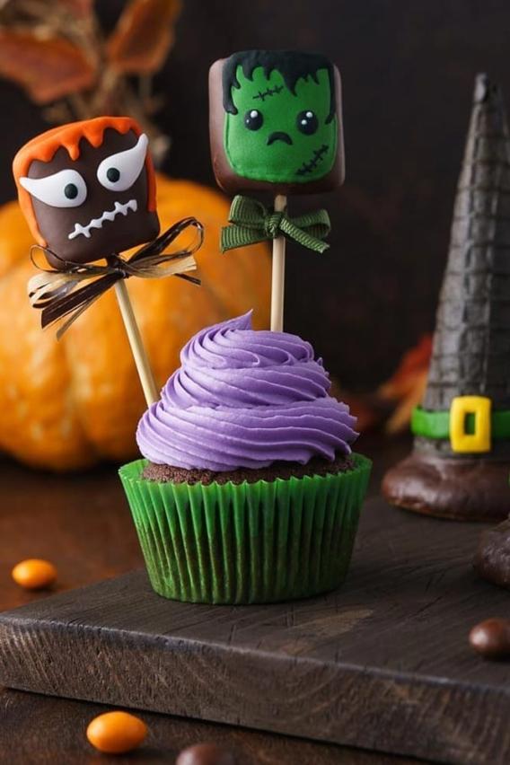 Cupcakes para Halloween con malvaviscos