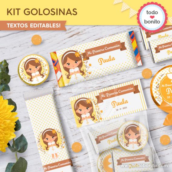 Kit imprimible golosinas de Primera Comunión para niñas por Todo Bonito