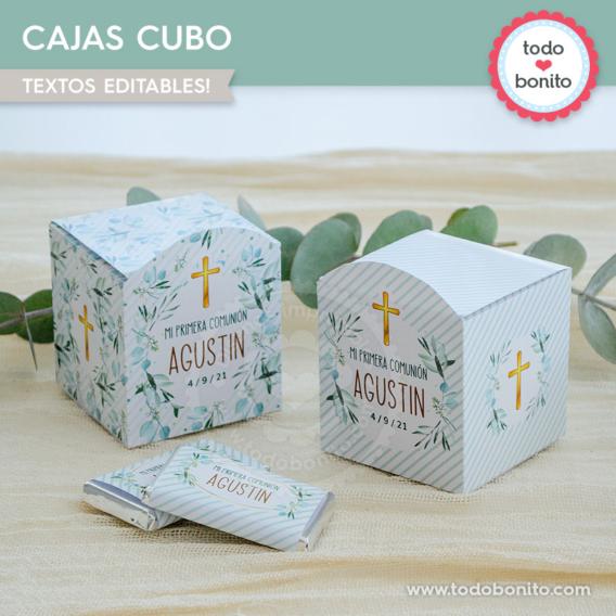 Cajas de souvenir para imprimir con eucaliptos y cruz para Primera Comunión