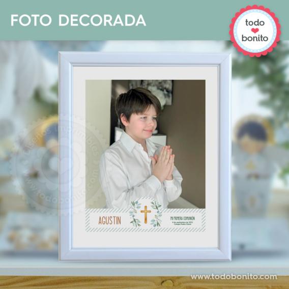 Foto tarjeta para imprimir con eucaliptos y cruz para Primera Comunión