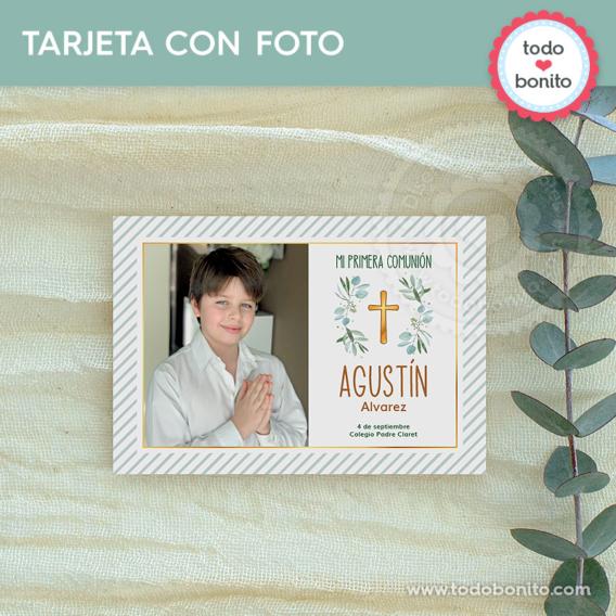 Tarjeta con foto para imprimir con eucaliptos y cruz para Primera Comunión