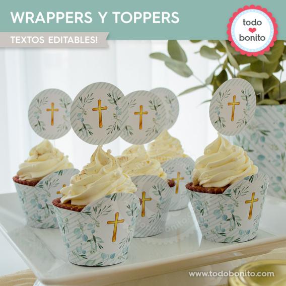 Cupcakes con eucaliptos y cruz para Primera Comunión