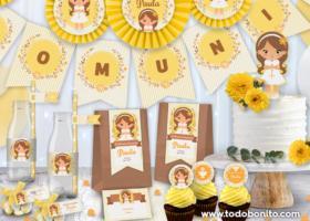 Kits imprimibles de Primera Comunión para niñas por Todo Bonito