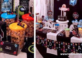 Decoración de cumpleaños de Among Us para niñas