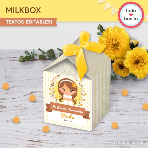 Cajitas para imprimir de Primera Comunión para niñas por Todo Bonito