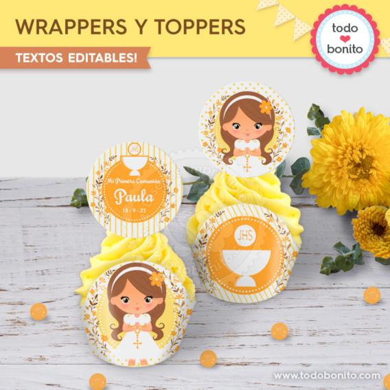 Cupcakes de Primera Comunión para niñas por Todo Bonito