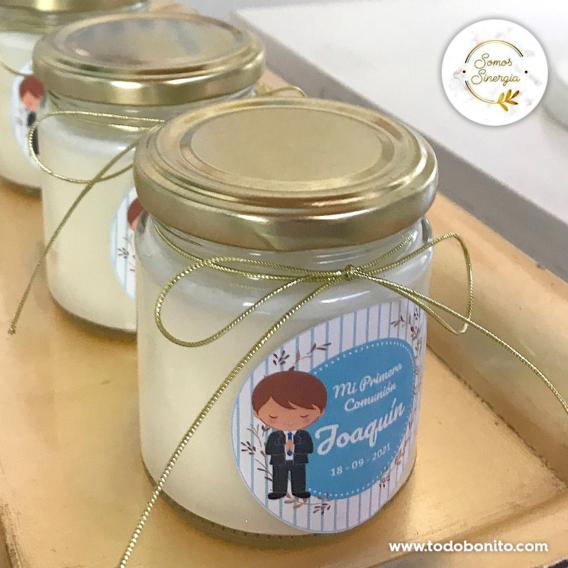 Souvenir velas de soja para Primera Comunión de niño