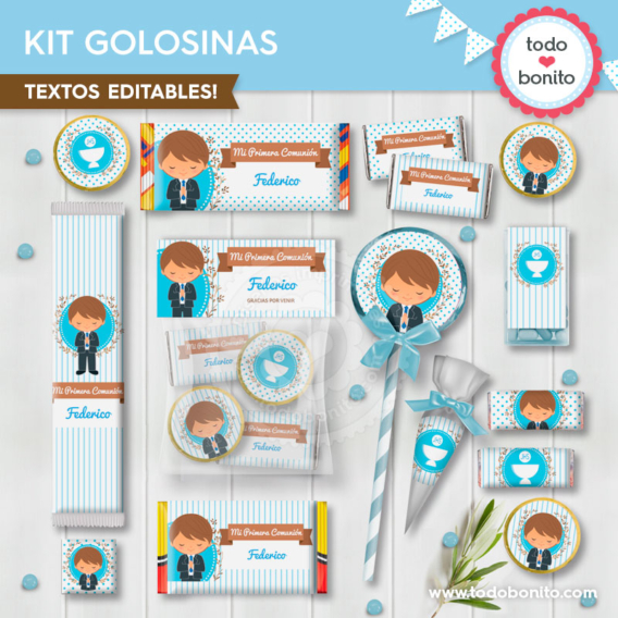 Kit etiquetas de golosinas Primera Comunión para niños