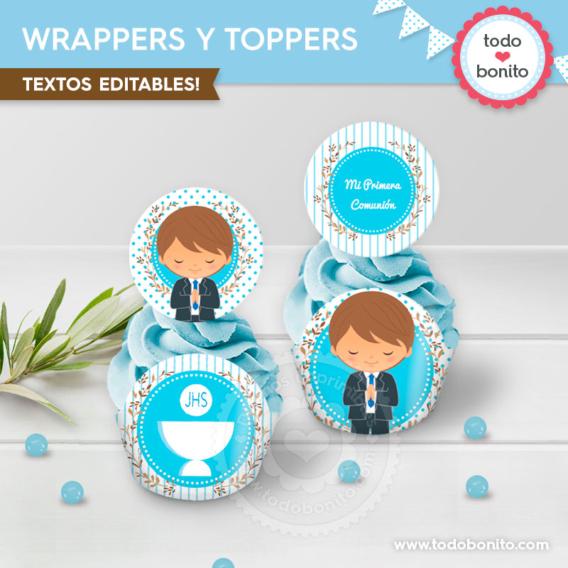 Wrappers y toppers para imprimir de Primera Comunión para niños